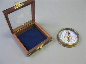 Brünierter Messingkompass 8cm Kompass in Holzbox Edelholz Marine Compass