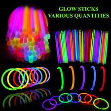 """GLOW STICKS 8"""" INCH NEON BRACELET NECKLACE PARTIES FESTIVALS LIGHT RAVE"""
