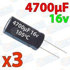Condensadores electroliticos 4700uF 16v ±20% 13x26mm - Lote 3 unidades - Electro