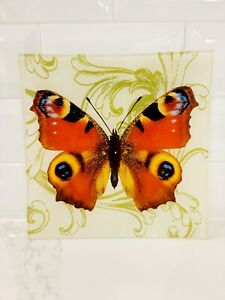 TWO'S COMPANY • Square Butterfly Glass Tray • BEAUTIFUL!!!