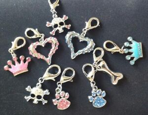 MIRAGE DIAMANTE DOG CAT COLLAR TAGS  CHARMS  GREAT on BAGS n ZIPS TOO! 7 DESIGNS
