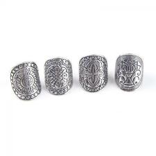 4 pcs Antique Women Carved Totem Silver Plated Midi Rings Boho