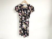 Auguste The Label Size 8 Navy Floral Wrap Dress Mini Short Sleeve 100% Rayon