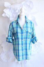RALPH LAUREN JEANS CO Plaid Button Down Shirt Blouse Sz XL Cotton Blue/Green LS