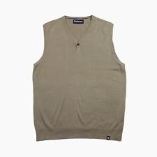 Barbour Mens Mortimer Tank Pima Cotton Sleeveless Jumper Sweater S Small Stone