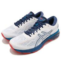 Asics Gel-Kayano 25 White Blue Red Men Runner Running Shoes Sneaker 1011A019-100