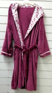 LADIES QUALITY FLEECE HOODED DRESSING GOWN ROBE UK SIZES 8,12