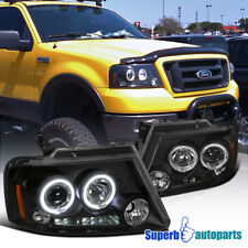 2004-2008 Ford F150 Dual Halo Led Projector Headlights Black SpecD Tuning