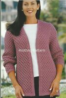 "Ladies Jacket edge to edge v-neck ""KNITTING PATTERN"" DK 32-50"" 1110"