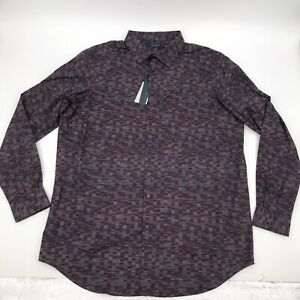 Perry Ellis Mens Purple Long Sleeve Button Down Shirt Sz XLT