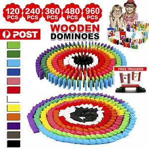 120/240/360/480pcs Wooden Domino Building Blocks Tiles Tumbling Dominoes Toys