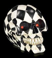 Totenkopf kariert mit LED Augen - Gothic Totenschädel Dekostatue