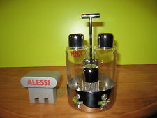 ALESSI *NEW* Set huile, vinaigre, sel et poivre inox brillant 12x11cm h.21cm