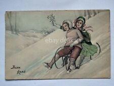 BUON ANNO slitta bambini vischio vecchia cartolina old postcard AK VK VIENNE