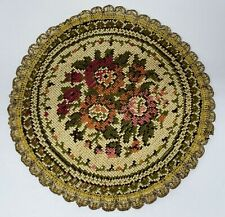 "Vintage Dollhouse Miniature Round Needlepoint Rug Floor Covering Carpet 8"" x 8"""