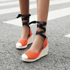Women Gladiator Heels High Wedge Lace Up Platform Colorblock Roma Linen Shoes SZ
