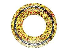 "Mosaic Mirror Garden Hanging Yellow Glass Inlay Round 24"" D Bali Zenda Imports"