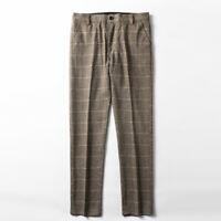Mens Winter 80% Wool Retro Pants Claasic Yellow Plaid Herringbone Suit Pants
