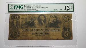 $5 1854 Memphis Tennessee TN Obsolete Currency Bank Note Bill VF35 PMG Garland