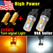 2x 3157 Dual Color 5730 20-LED Switchback White/Amber Turn Signal Bulb+Resistors