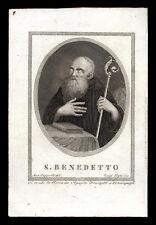 santino incisione 1800 S.BENEDETTO DA NORCIA