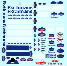 1/18 Williams F1 FW16 FW18 FW19 Rothmans conversion decal for Diecast model car