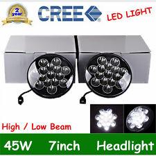 "2X 7"" Black 45w LED Cree Light Bulbs Clear Sealed Hi/Lo Beam Jeep Boat Headlamp"