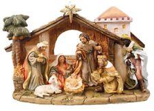 Xmas Traditional Nativity Full Set 7 Fixed Figures  Xmas Decoration Hand Finish