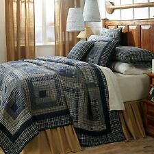 COLUMBUS BLUE PLAID Twin QUILT : COUNTRY WHITE CABIN RUSTIC PATCHWORK