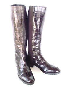 DONALD PLINER BOXER BROWN EMBOSSED LEATHER TALL SHAFT RIDDING BOOTS ELASTIC 6.5
