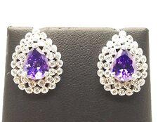 Sterling Silver 925 Pear Purple Amethyst Double CZ Halo Stud Post Earrings
