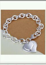 Heart & Chain Bracelet / Bangle - 925 Stamped Silver birthday lady men gift +bag