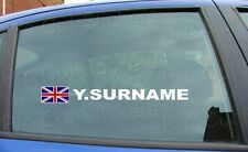 x2 Rally Race Tag Name Surname Car Window Stickers Decals Union Jack Flag ref:4