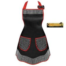 CHIC CHEF Designer Apron Kitchen BBQ Hostess Embroidery Matching Hair Bow