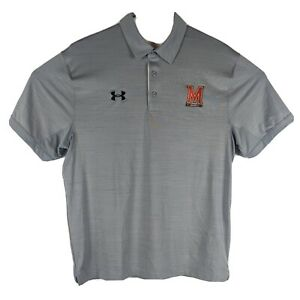 Maryland Terrapins Golf Polo Mens Size L Large Gray Terps Athletic Shirt
