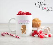 GINGERBREAD MAN GIRL COFFEE MUG TEA CUP BIRTHDAY MERRY CHRISTMAS GIFT PRESENT