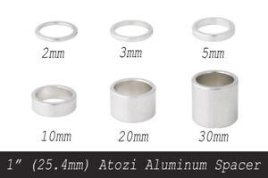 """1"""" (25.4mm) Atozi Aluminum Bike Headset Stem Spacer Kit 2/3/5/10/20/30mm Silver"""
