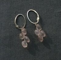 STERLING SILVER ROSE QUARTZ EARRINGS 925 SOLID