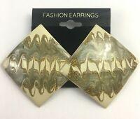 Vintage Swirl Enamel Pierced Earrings Big Green Gold Tone Statement Large NOS