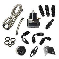 Universal Black Adjustable Fuel Pressure Regulator Kit Oil 0-100psi Gauge -6AN