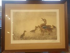 Signed And Framed Leo Danchin 1887-1938 Print Of Ducks Mother Duck with duckling