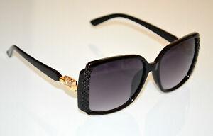 LUNETTES DE SOLEIL femme OR NOIR CRISTAL doré verres strass sunglasses BB48