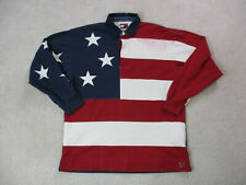 VINTAGE Tommy Hilfiger Polo Shirt Adult Medium Blue Red USA Flag Rugby Mens 90s*