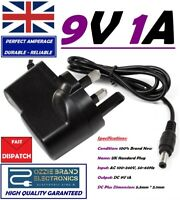 UK 9V 1A AC/DC Mains Power Supply Adapter Charger Plug AC 100-240V 50/60Hz