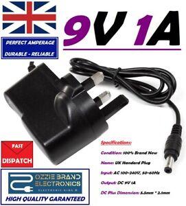 UK 9V 1A AC/DC Mains Power Supply Adapter Charger Plug AC 100-240V 50/60Hz