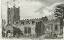 1794 Antique Print; St Mary's Church, Bletchley, Milton Keynes, Buckinghamshire
