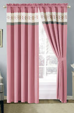 4-Pc Heart Diamond Spade Clover Floral Embroidery Curtain Set Pink Gray White