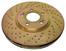 FRONT Custom Gold Drilled Brake Disc Rotors for EVO 8 9 w/Brembo TB31345DG