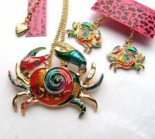 Betsey Johnson Colorful enamel Pretty crab Necklace earring set#263T