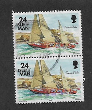 ISLE OF MAN POSTAL ISSUE USED PAIR OF DEFINITIVE STAMPS 1993 SAILING SHIPS
